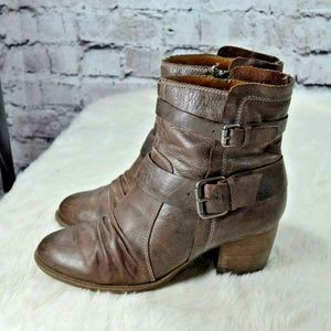 Naya Shoes - Naya Virtue Brown Leather Buckle Heeled Moto Boots